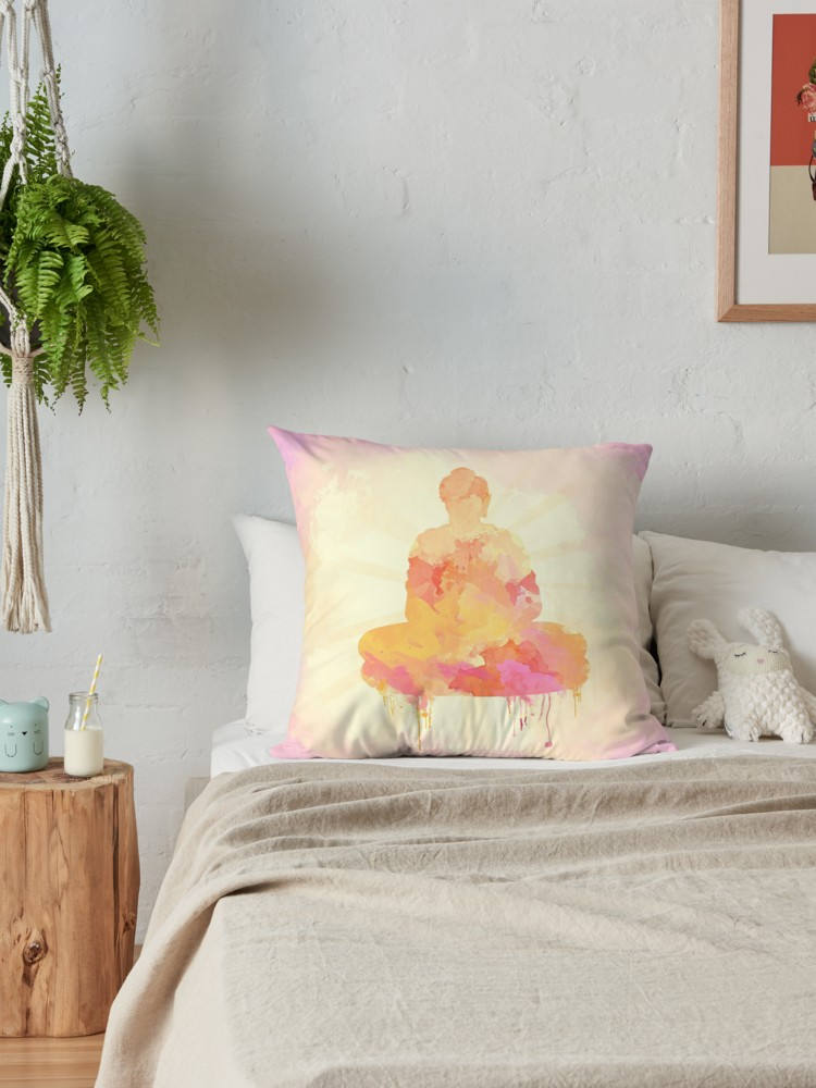 Zen Pillow with Meditating Buddha, Polyester or Cotton Twill | Brandless Artist