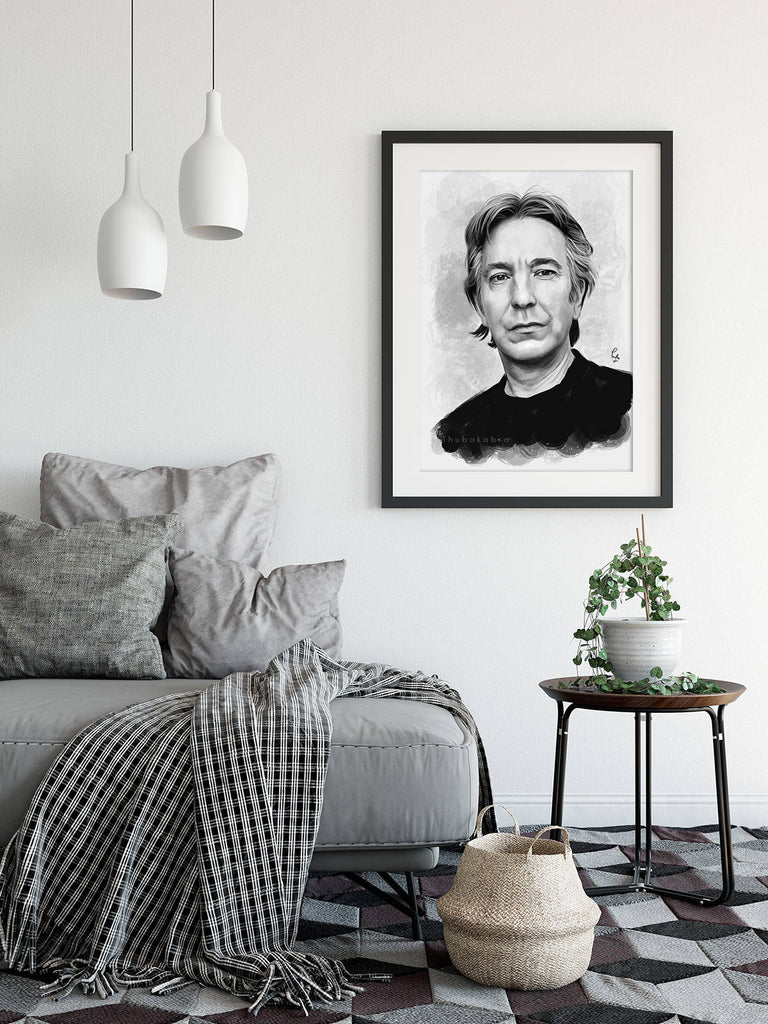 Alan Rickman Home Decor for Living Room - Actor Fanart in Black and White | Brandless Artist