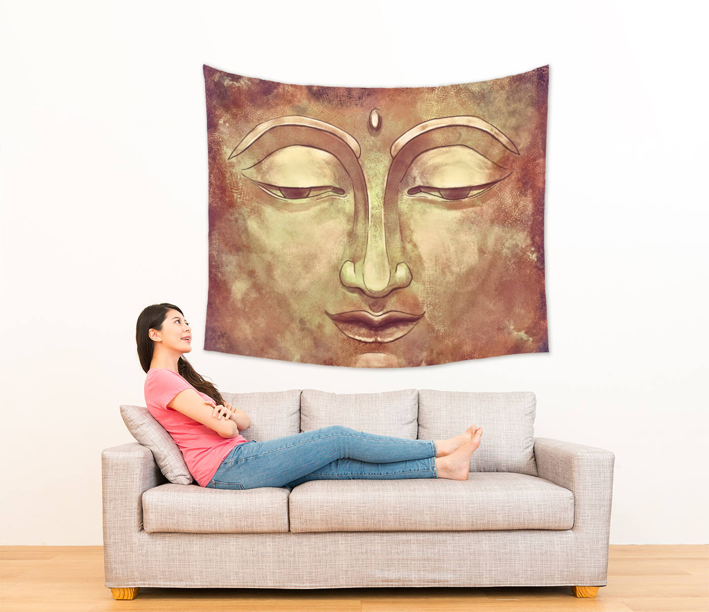 Golden Buddha Tapestry Wall Hanging for Living Room, Calming Wall Art | Brandless Artist