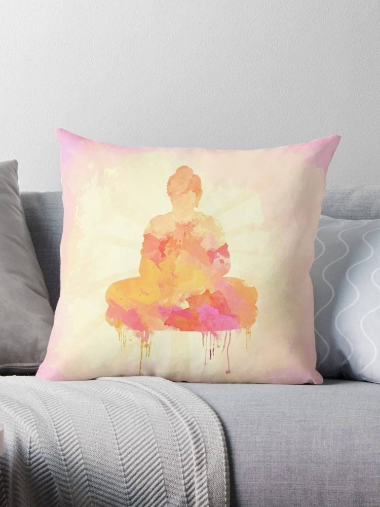 Yellow Buddha Pillow Boho Home Decor | Brandless Artist