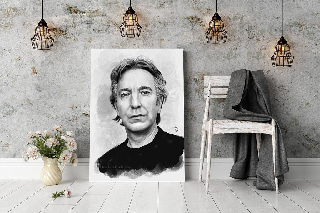 Alan Rickman Man Cave Decor Large Wall Hanging in Black and White | Brandless Artist