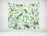 Leaf Tapestry for Bohemian Rooms in Green and White Colors, Nature Wall Hanging | Brandless Artist
