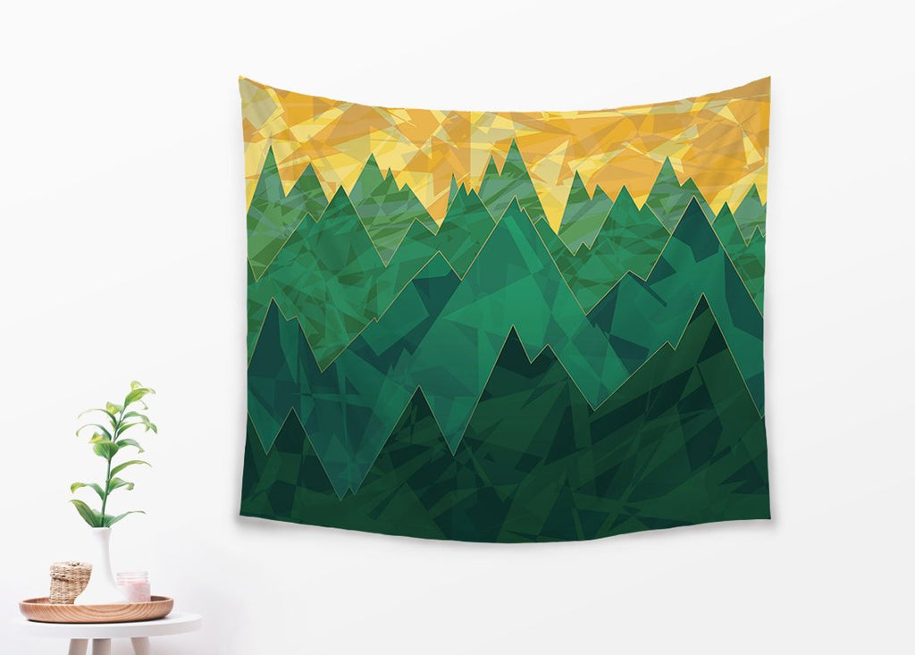 Minimalist Landscape Tapestry With Green Mountains, Abstract Wall Hanging | Brandless Artist