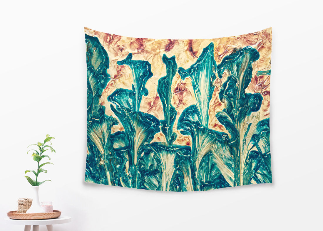 Nature Tapestry - Boho Wall Hanging in Orange and Green Large Home Decor | Brandless Artist