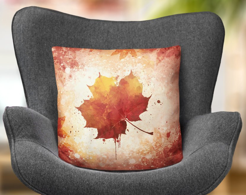 Autumn Leaf Pillow, Orange and Brown Seasonal Home Decor | Brandless Artist