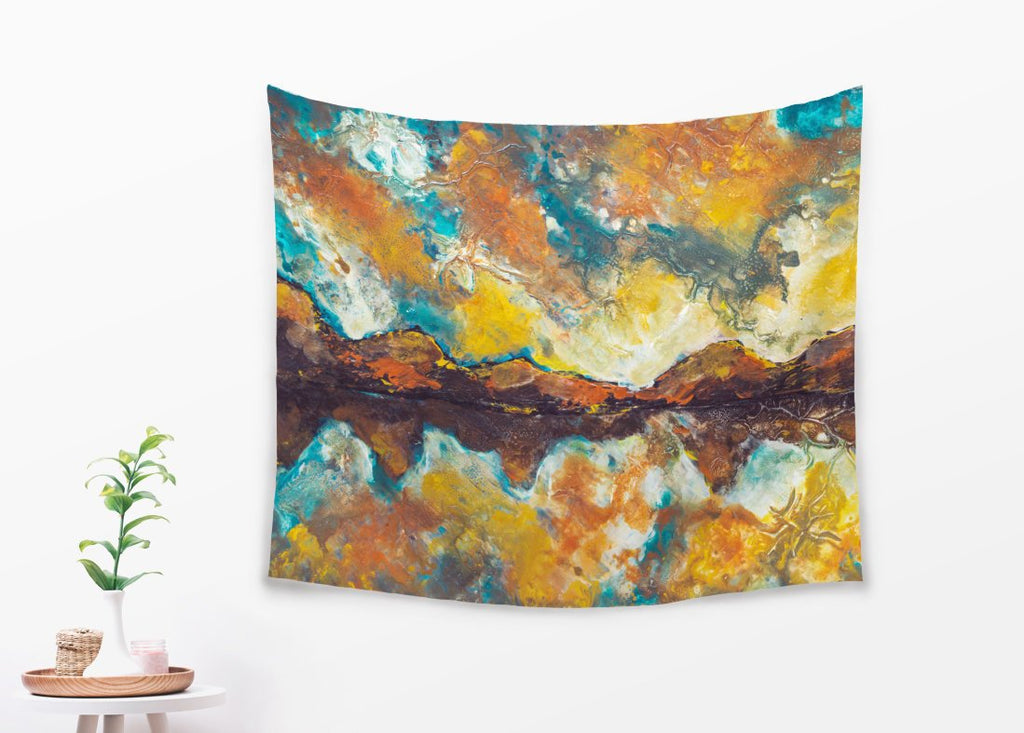 Mountain Tapestry Inspired Wall Hanging with Abstract Design in Yellow and Brown | Brandless Artist