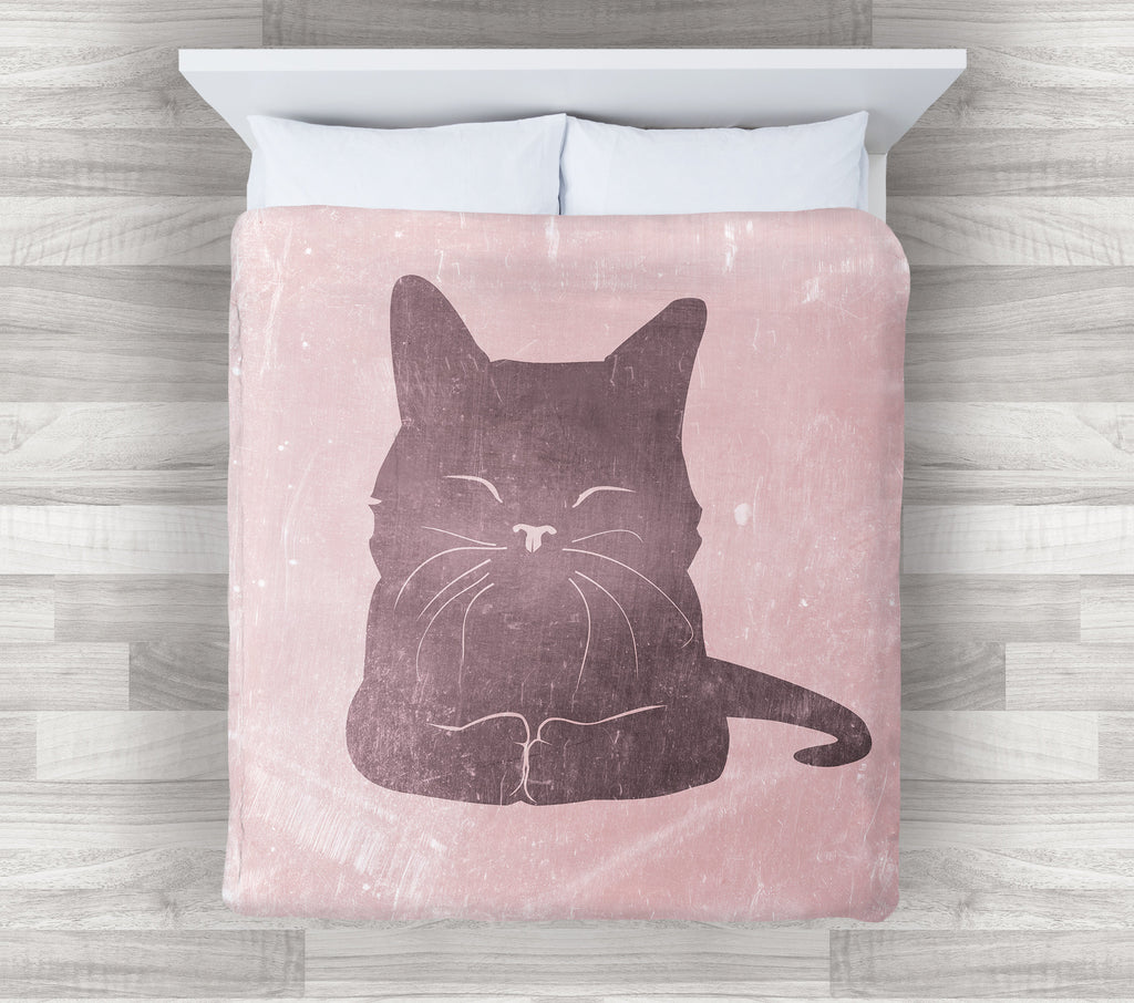 Cat Bedding | Pink Girl Bedding Set | Modern Pink Teen Bedding | Pink Cat Lover Gift Bedroom Decoration - Brandless Artist