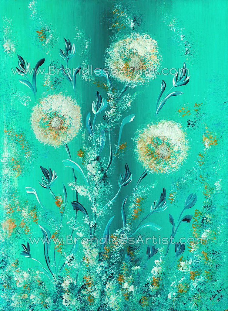 Turquoise Pillow Cover - Inspired Floral Couch Pillow | Brandless Artist