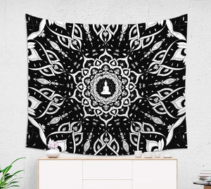 Black and White Mandala Wall Tapestry - Brandless Artist