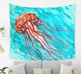 Underwater Tapestry With Jellyfish, Blue and Orange | Brandless Artist