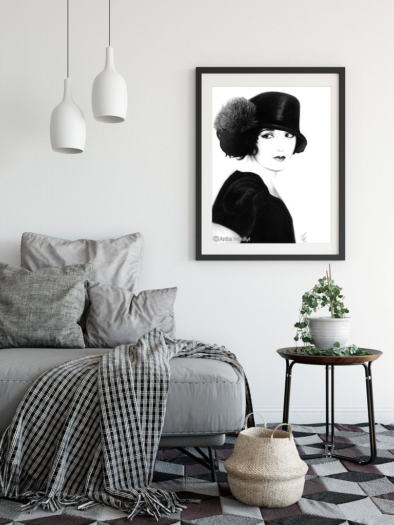 Black and White Woman Portrait Print Large Wall Art - Brandless Artist