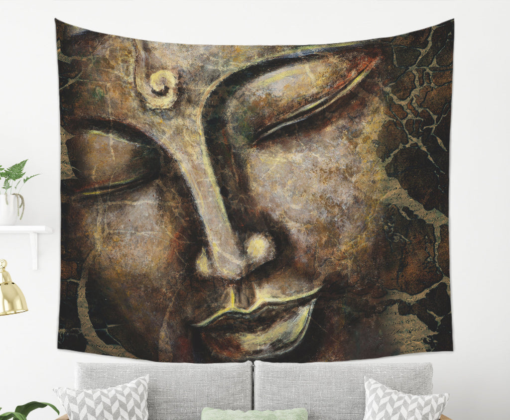 Large Buddha Tapestry Boho, Spiritual Wall Hanging, Brown | Brandless Artist