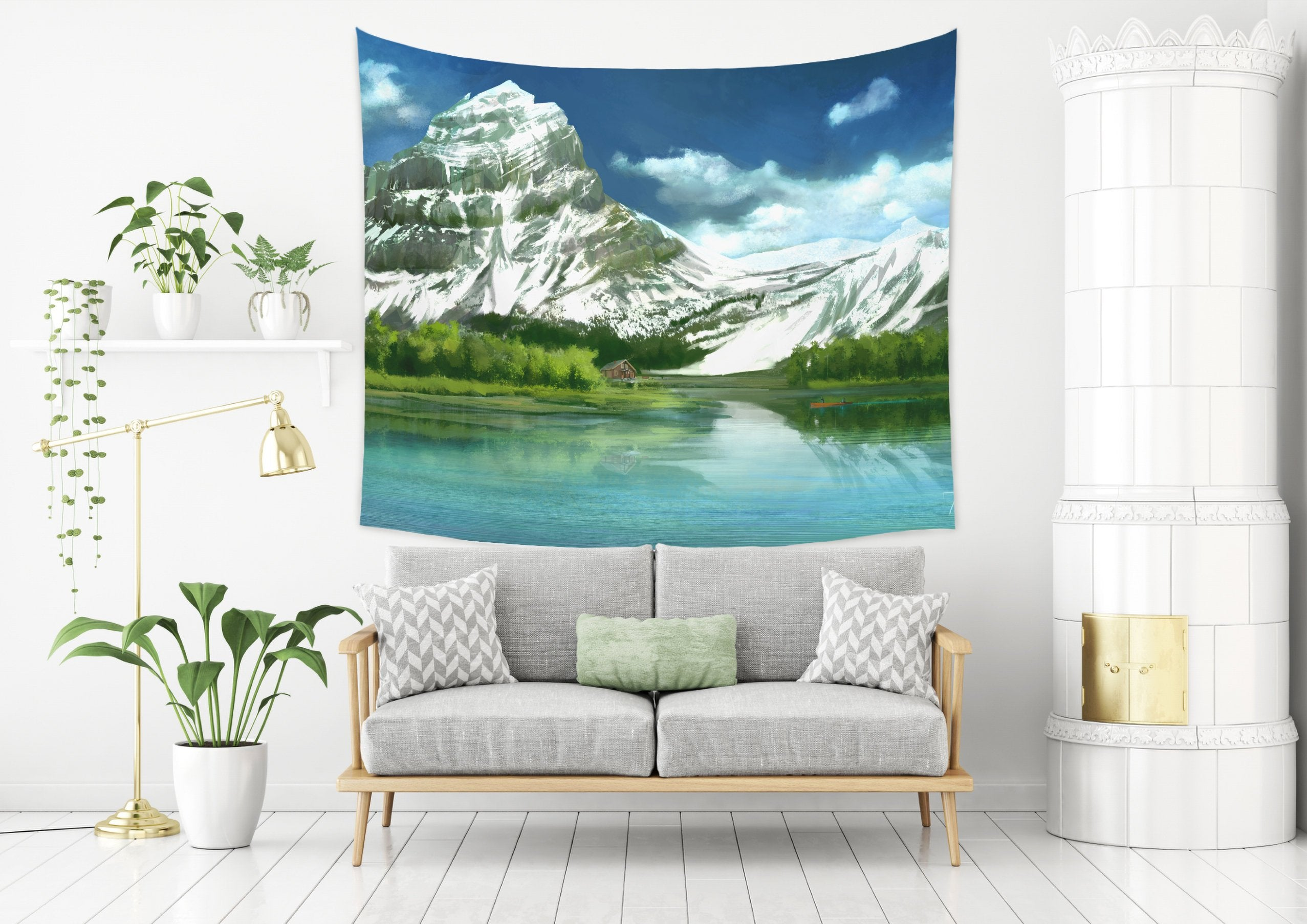 Mountain Landscape Tapestry For Living Room in Blue and Green | Brandless Artist