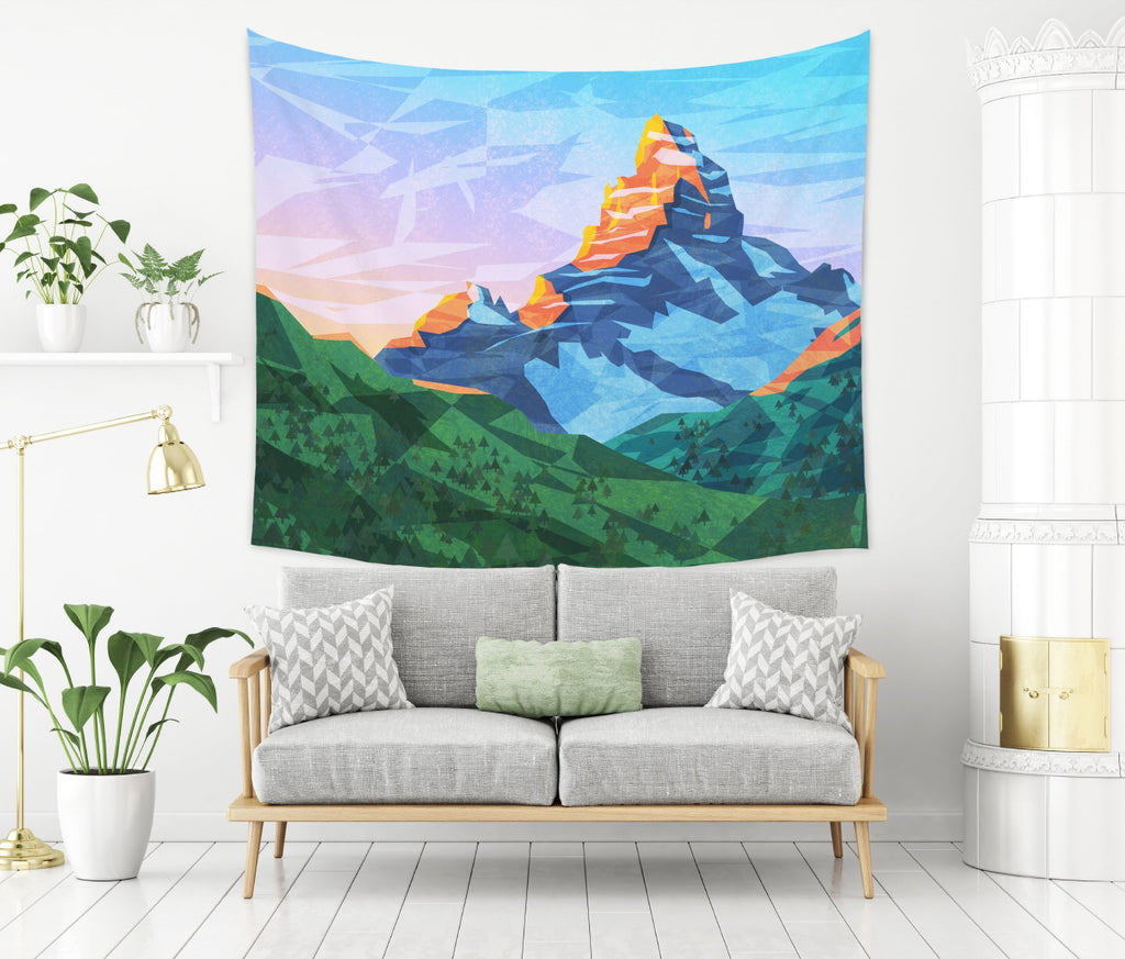 Cartoon Mountain Tapestry Large Wall Hanging for Kids | Brandless Artist