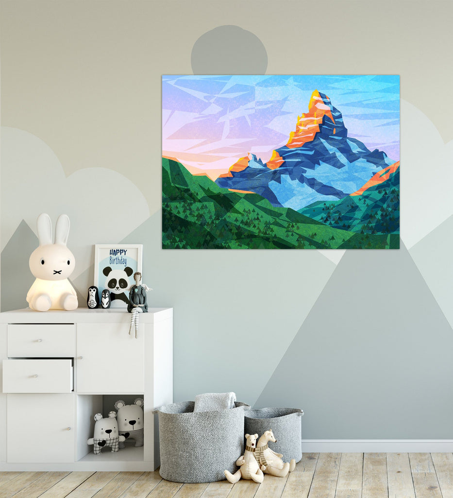Mountain Wall Art | Abstract Mountain Art Print for Children | Snowy and Rocky Mountain Art Printed on Poster | Scenic Landscape Art - Brandless Artist