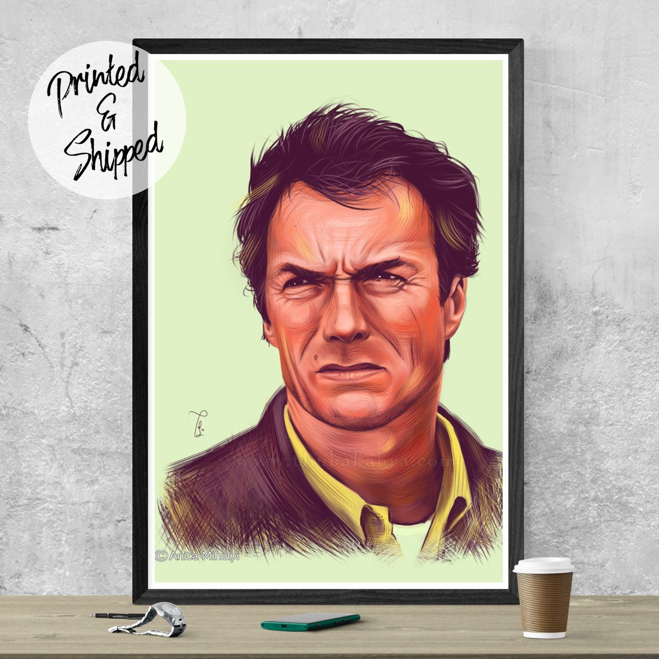 Clint Eastwood Poster | Old Western Figure Mancave Decor | Large Eastwood Poster | Huge Eastwood Wall Decor | Brandless Artist