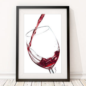 Red Wine Poster | Wine Digital Painting Print | Large Wine Print Wall Art | Pub and Kitchen Decoration Gift for Wine Lovers - Brandless Artist