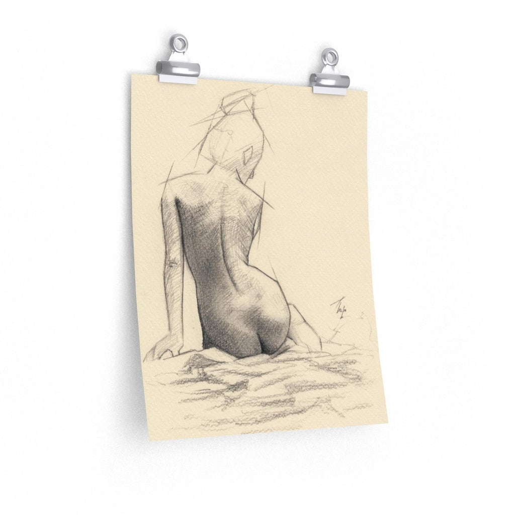 Naked Girl Print Inspired Wall Hanging Pencil Drawing Study | Brandless Artist