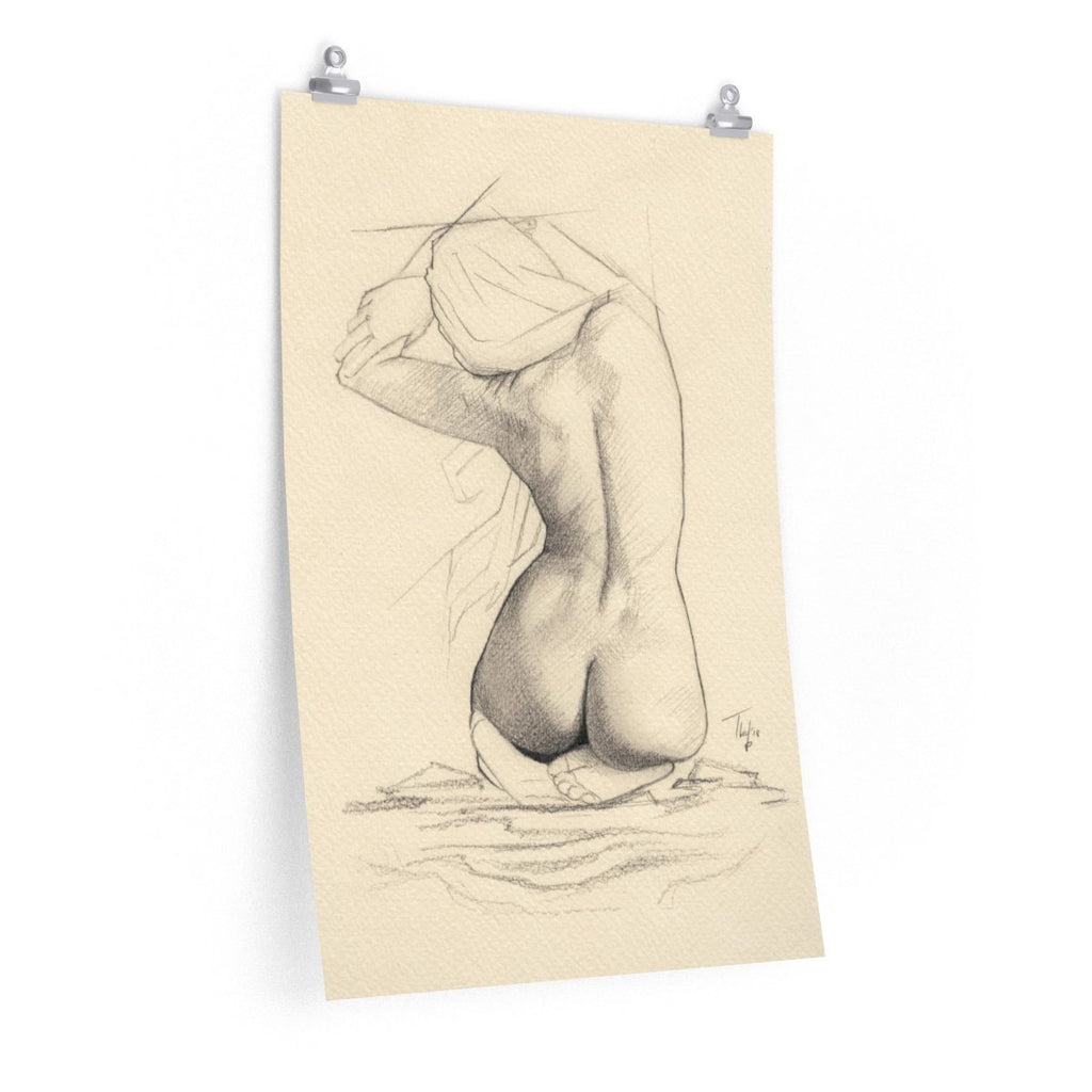 Nude Print Pencil Drawing | Woman Back Nude Art Figurative Print | Nude Woman Pencil Poster | Nude Figure Sketch Art Print - Brandless Artist
