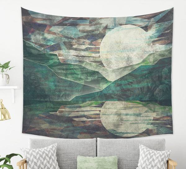 rising Moon tapestry wall hanging in a boho room