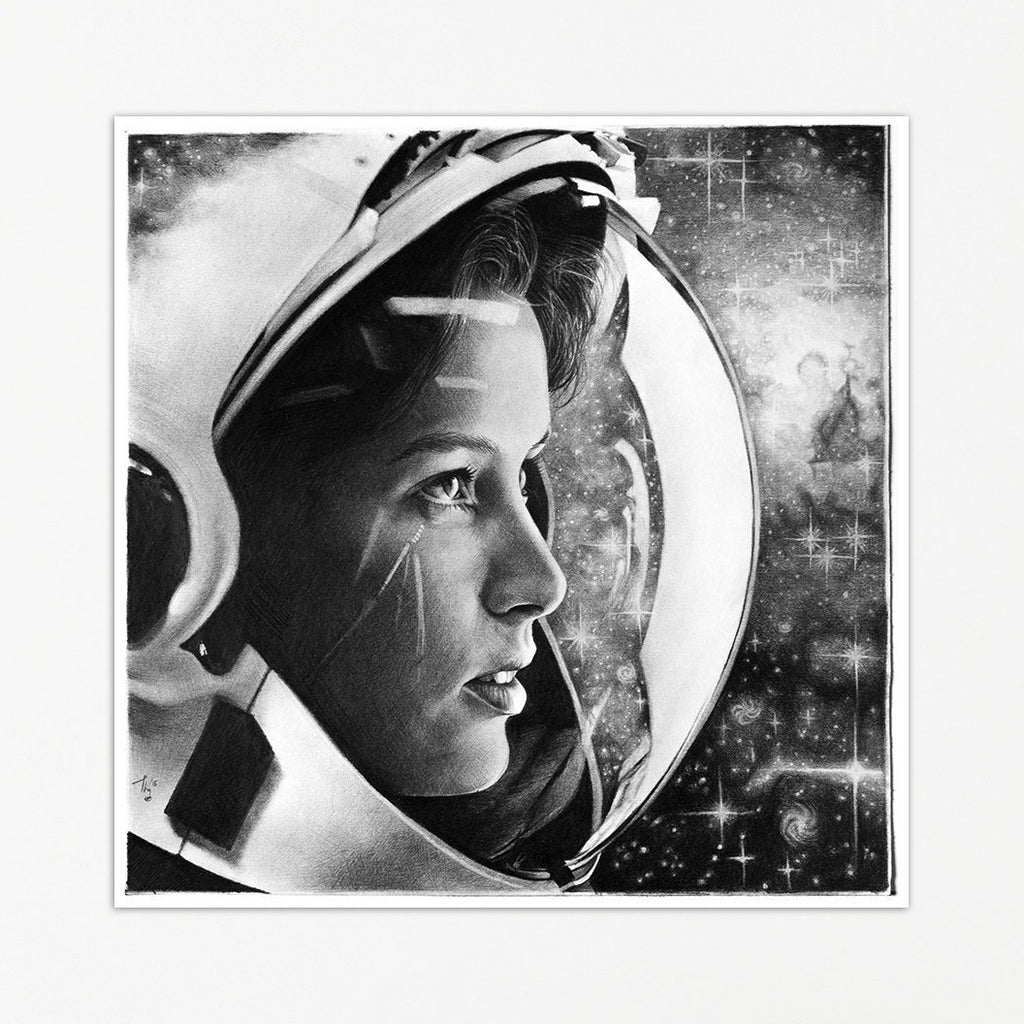 Astronaut in Space Print by Thubakabra, Back and White Pencil Drawing | Brandless Artist