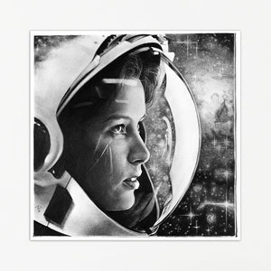 Astronaut in Space Print | Pencil Drawing Galaxy Print | Photorealistic Pencil Art Poster | Black and White Night Sky Print by Thubakabra - Brandless Artist