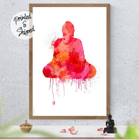 Red Buddha Wall Art - Watercolor Buddha | Brandless Artist