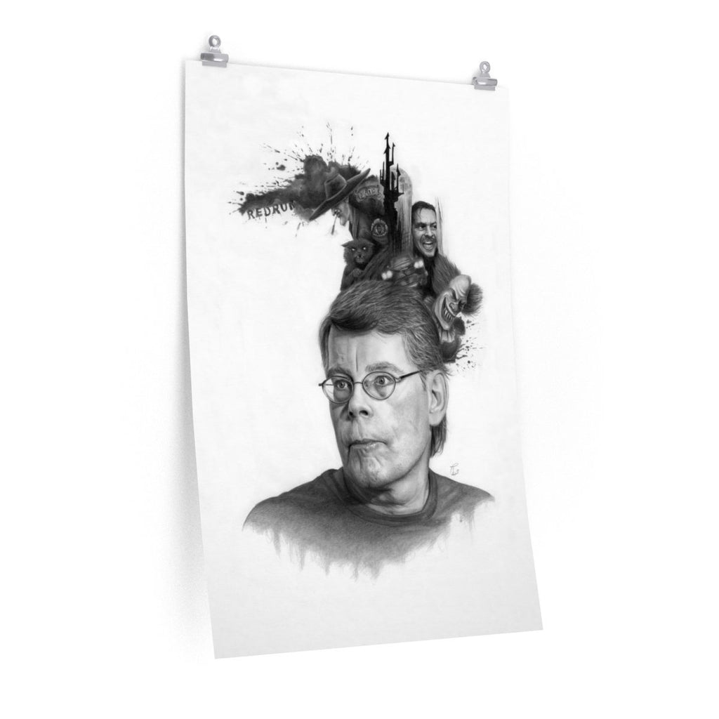 Stephen King Art | Stephen King Poster | Black and White King Pencil Drawing Art Print | Horror Book Fan Gifts - Brandless Artist