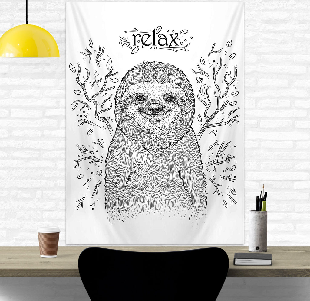 Sloth Wall Hanging for Students and Offices, Black and White Tapestry | Brandless Artist
