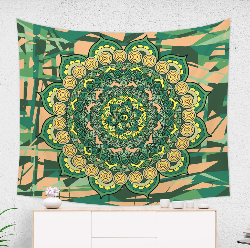 Green and Yellow Mandala Tapestry Spiritual Home Decor | Brandless Artist