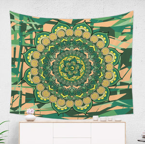 Green and Yellow Mandala Tapestry - Brandless Artist