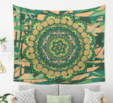 Mandala Tapestry Psychedelic Wall Hanging in Green and Yellow | Brandless Artist