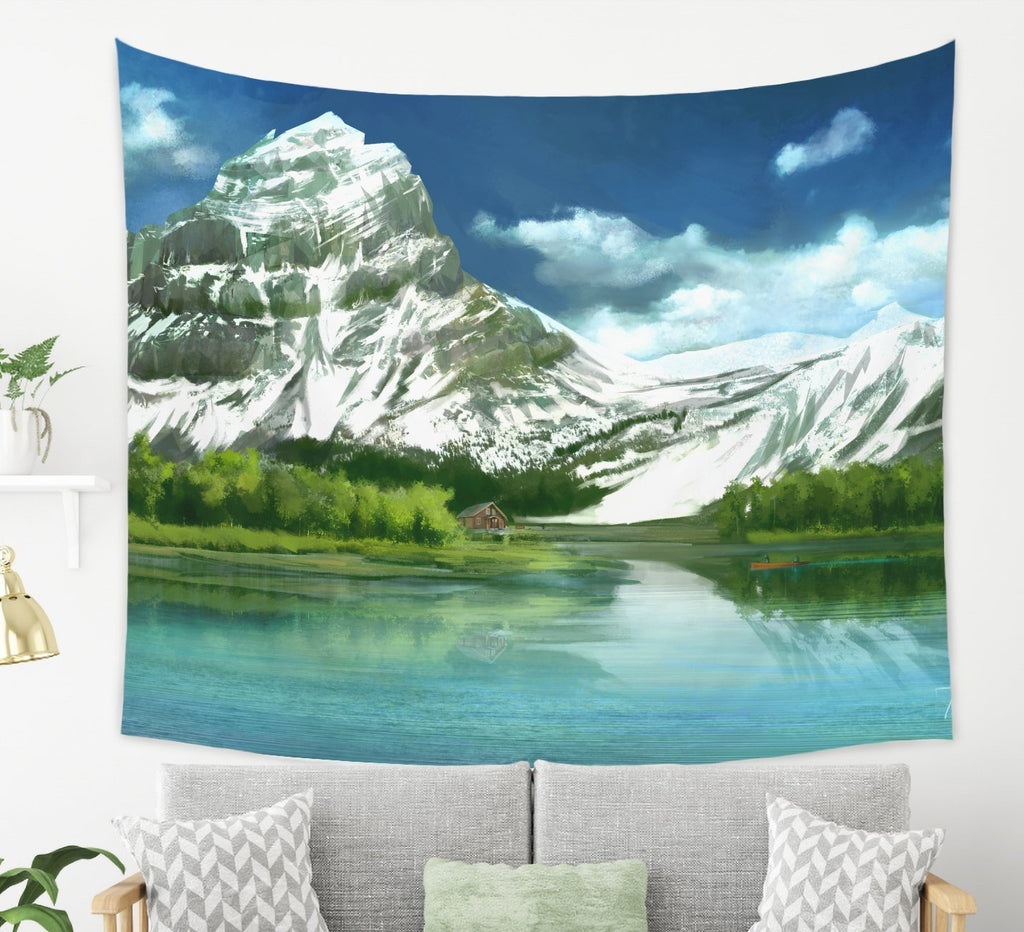 Large Mountain Tapestry Inspired Scenic Wall Decor for Boho and Modern Homes | Brandless Artist