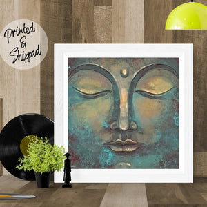 Rustic Buddha Print | Meditating Buddha Wall Art Zen Decor | Green Sacred Print | Watercolor Painting Buddha Poster - Brandless Artist