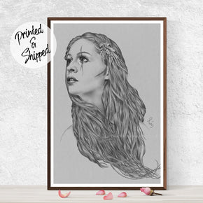 Art Nouveau Art Print of a Black and White Portrait Drawing - Grey Wall Art Decor | Brandless Artist