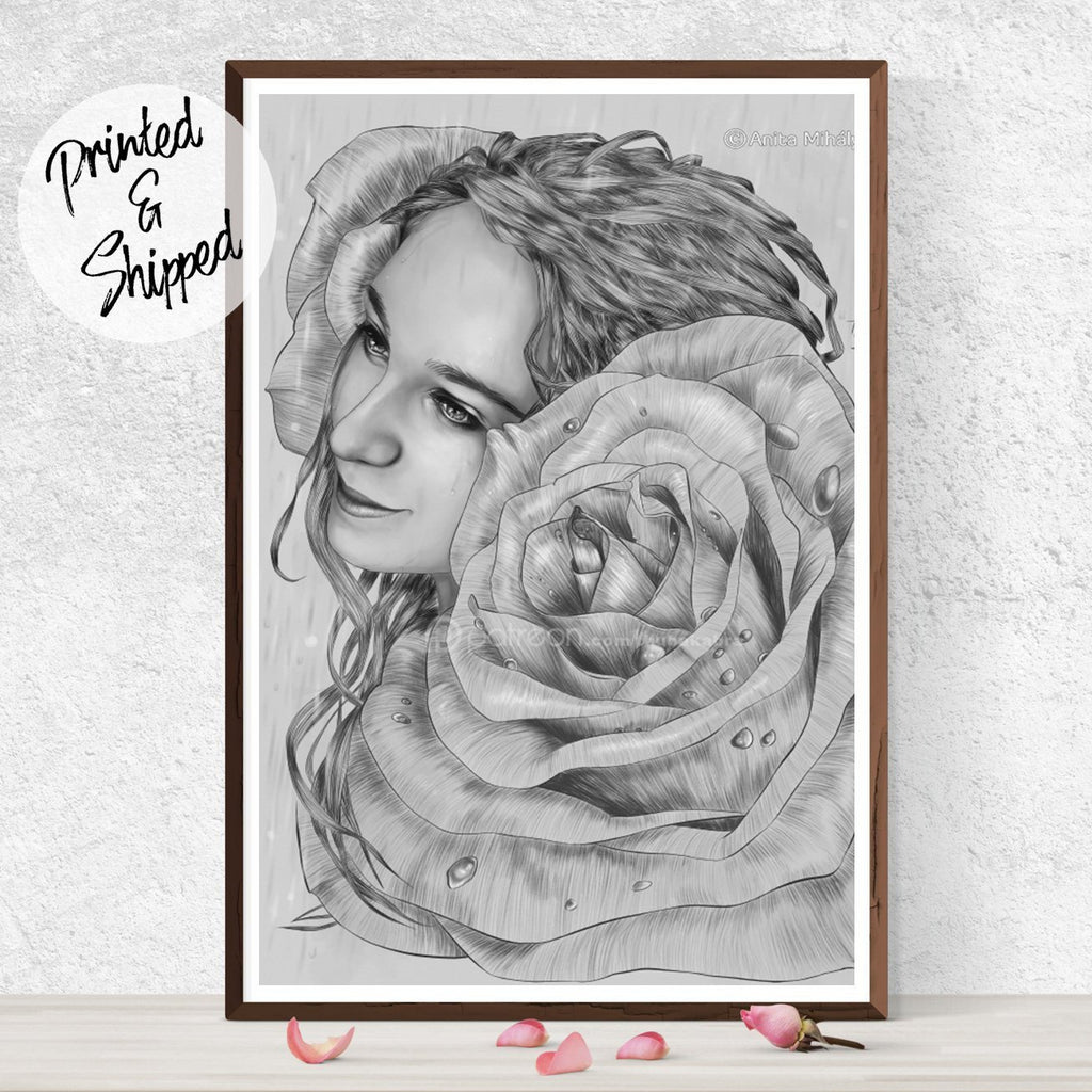 Surreal Rose Print - Portrait Art Print | Brandless Artist