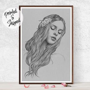 Art Nouveau Portrait Drawing by Thubakabra Art Print - Brandless Artist