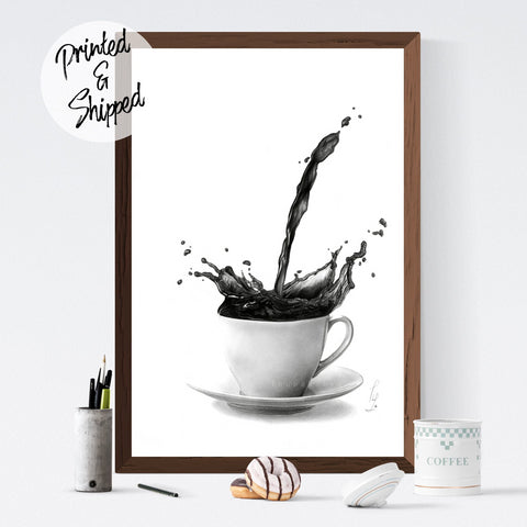Coffee Poster Black and White Wall Decor | Coffee Lover Gift Kitchen Print | But first Coffee Print | Coffee Wall Art Decor - Brandless Artist