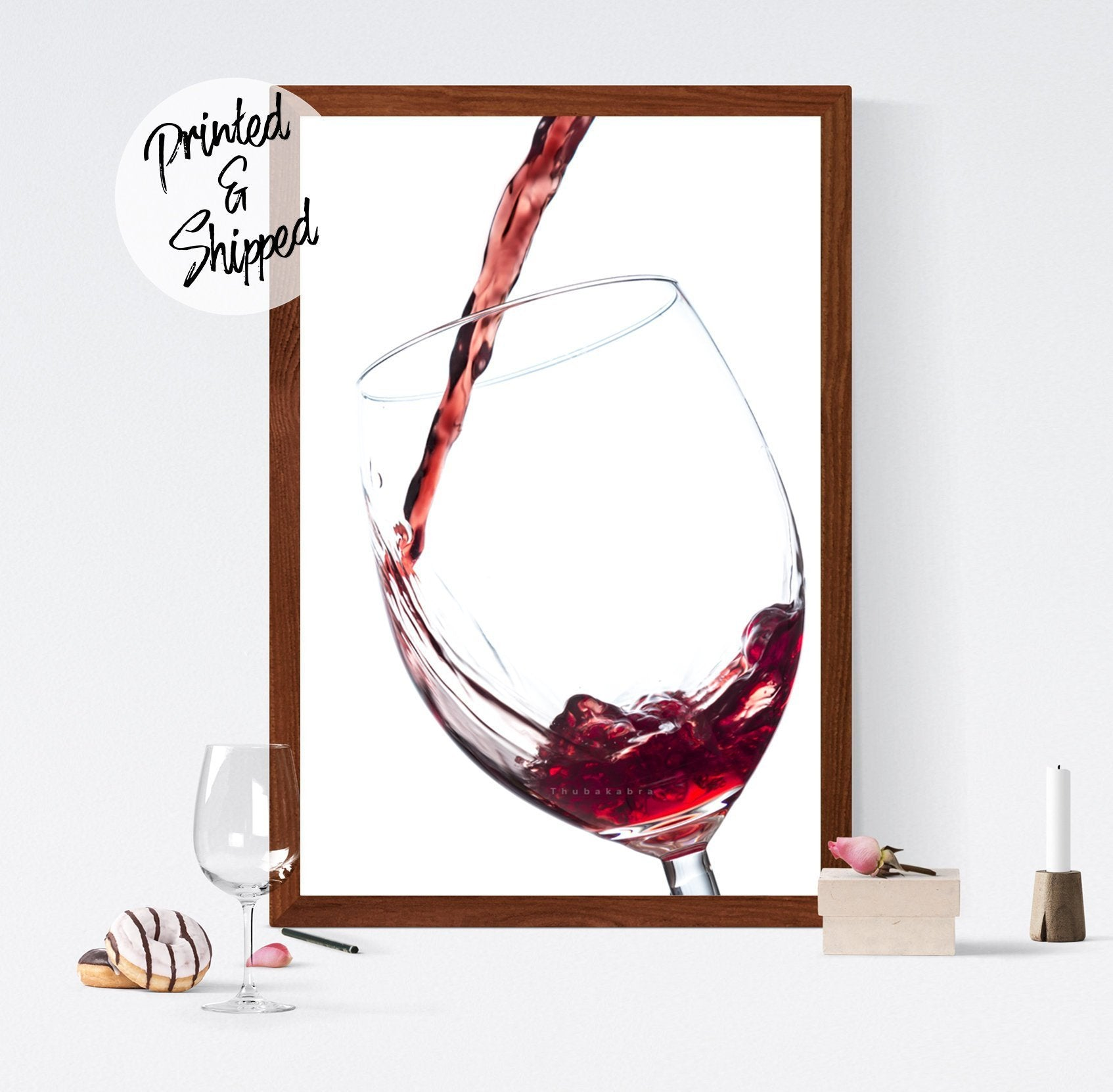 Wine Print | Wine Kitchen Art Poster Gift for Her | Elegant Red Wine Wall Decor | Wine Photography Art Printed on Paper - Brandless Artist
