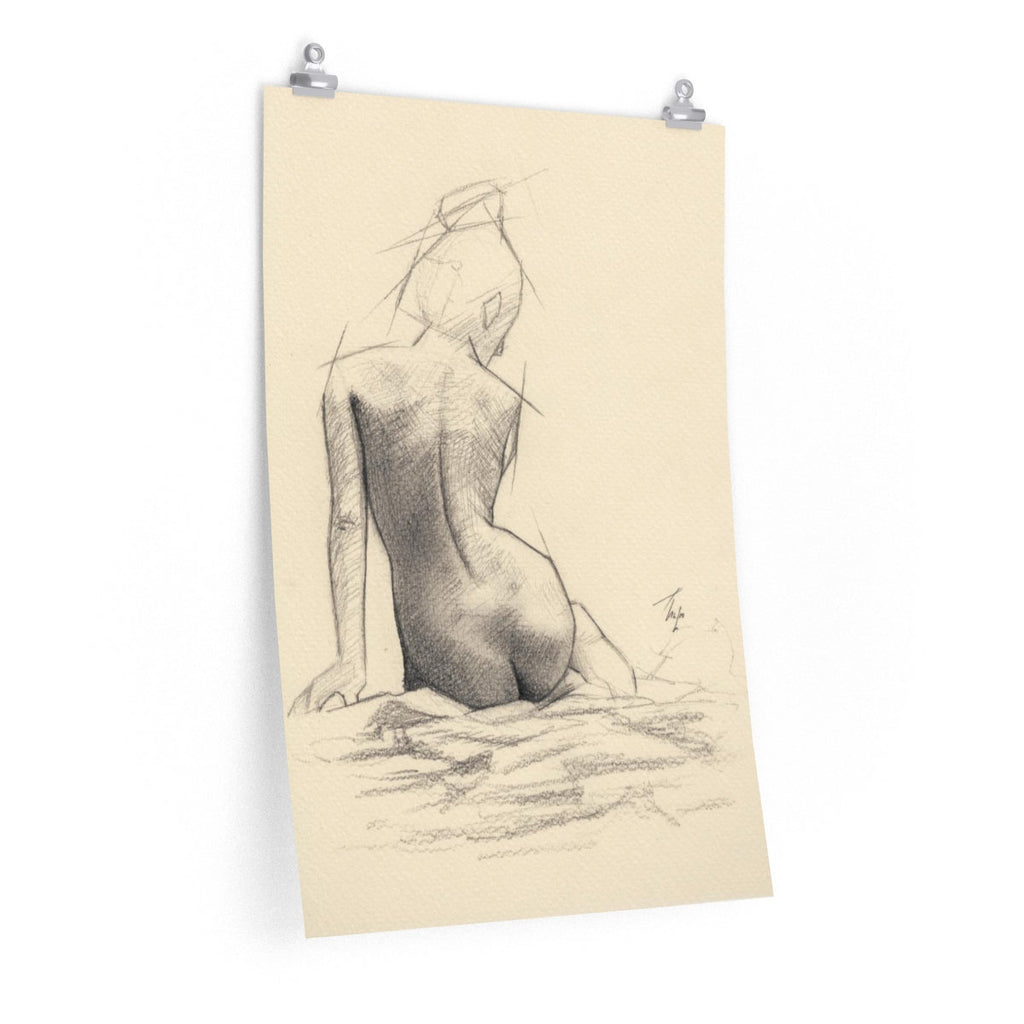 Nude Figure Sketch Art Print - Large Wall Hanging of Naked Girl | Brandless Artist