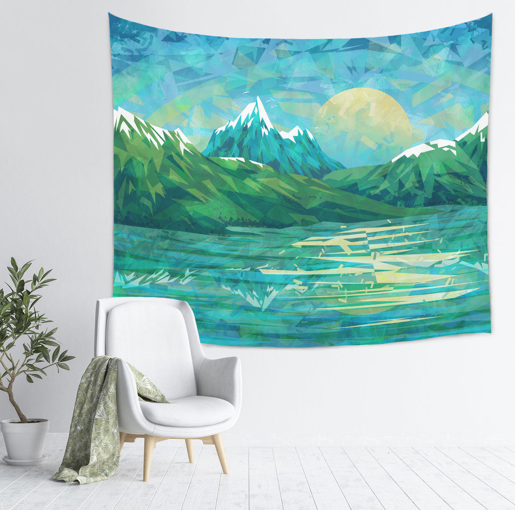 Mountain Tapestry Large Scenic Wall Hanging, Blue | Brandless Artist