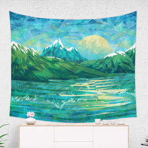 Blue Mountain Tapestry Landscape Wall Art Inspired Home Decor for Living Room | Brandless Artist