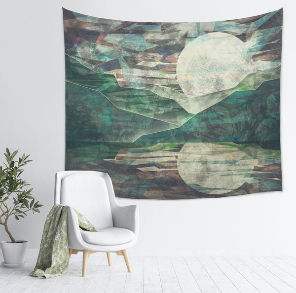modern and abstract mountain tapestry in a grungy art style