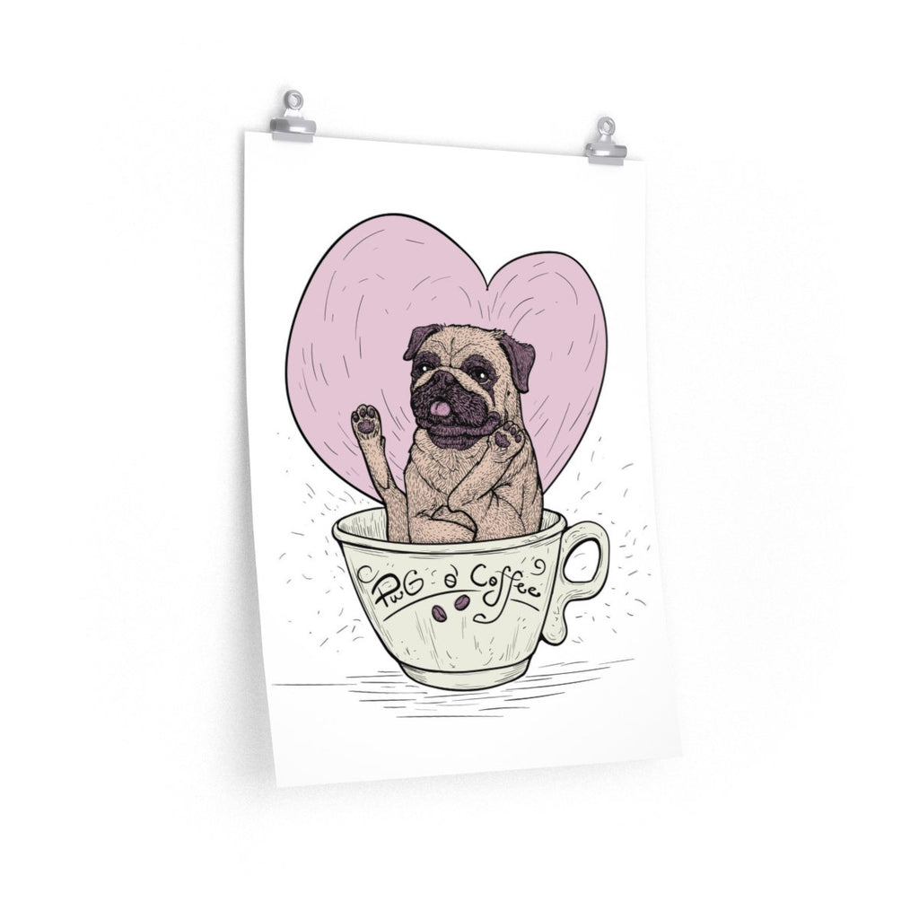 Cute Pug Print | Pug and Coffee Print | Pug Lover Gift Art Print | Coffee and Pug Wall Art Decor Gift for Coffee Addicts | Dog Wall Art - Brandless Artist