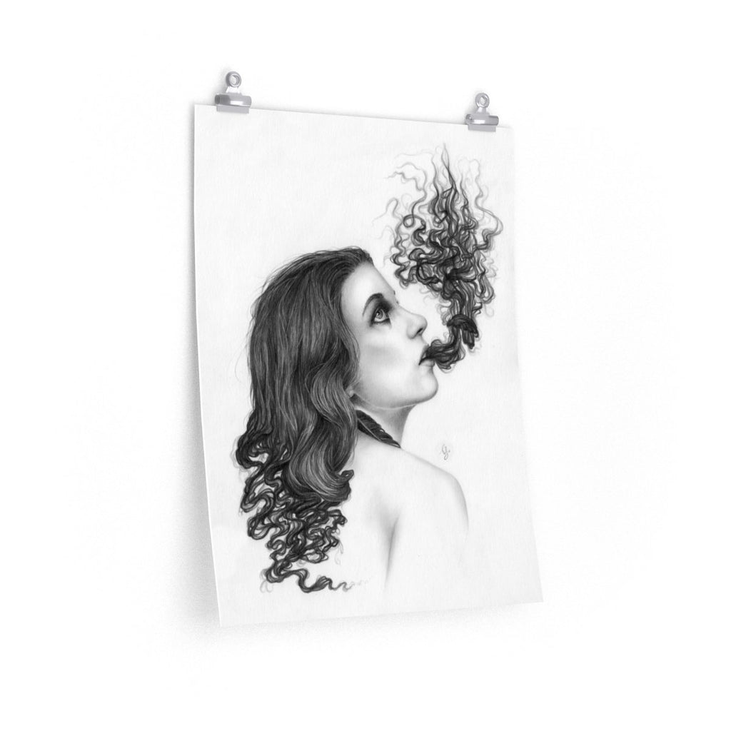 Black and White Pencil Drawing of a Surreal Portrait Print by Thubakabra - Brandless Artist