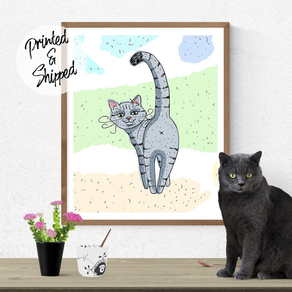 Funny Cat Print | Cartoon Cat Print for Cat Lovers | Kitten Wall Art for Kids | Cute Cat Drawing Poster Wall Decor Cat Lover Gift - Brandless Artist