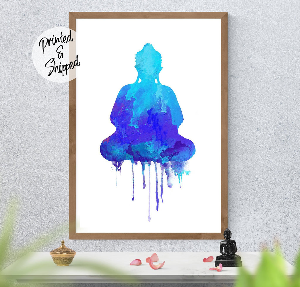 Buddha Watercolor Print | Blue Buddha Zen wall Art decor | Meditating Buddha Art Print | Large Buddha Wall Art on Paper - Brandless Artist