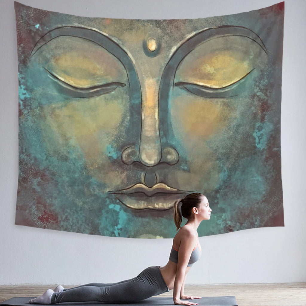 Large Buddha Wall Hanging Yoga Decor, Green and Gold | Brandless Artist
