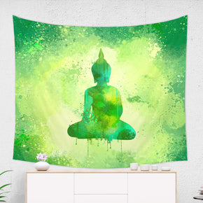 Green Buddha Tapestry - Meditation Room Decor Spiritual Wall Hanging | Brandless Artist