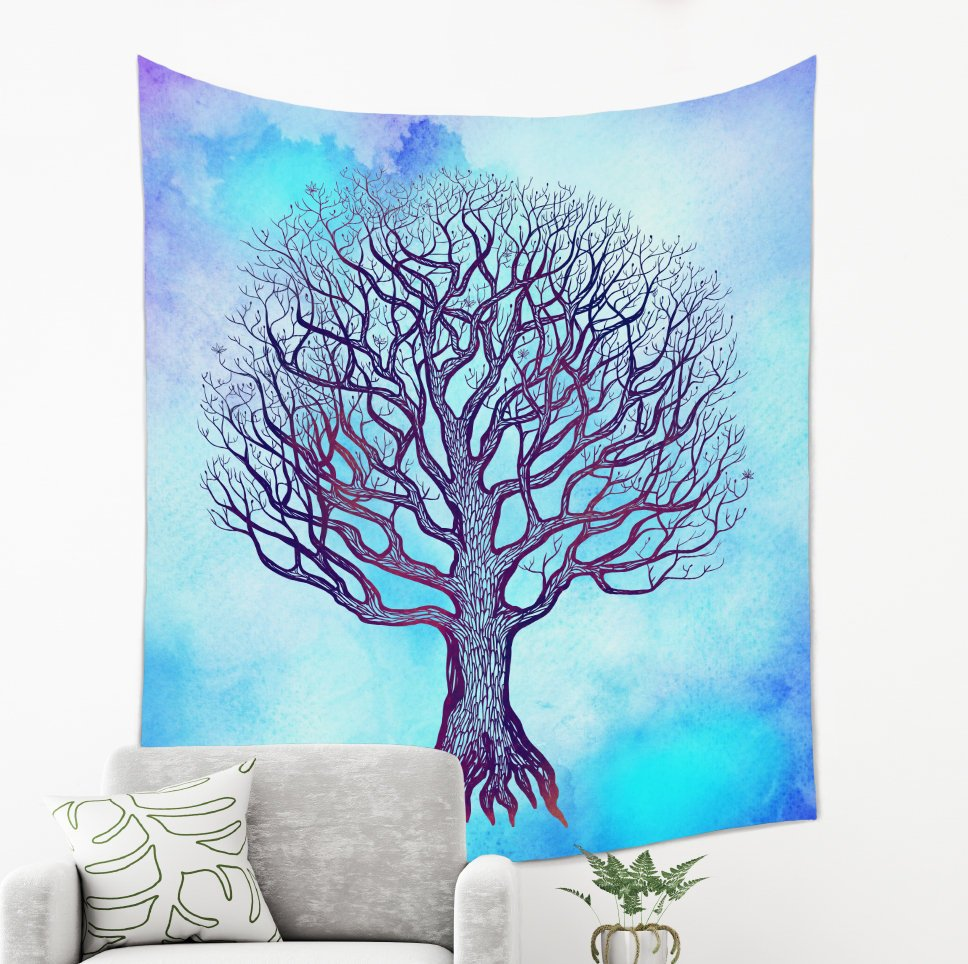 Blue Tree of Life Tapestry - Brandless Artist